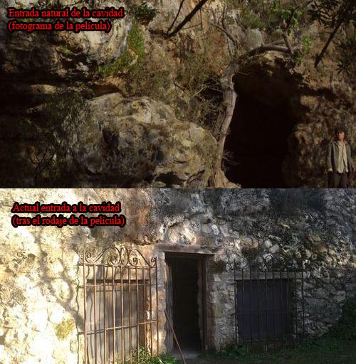 Boca de entrada a la cueva cuando se realizó la película y actualmente